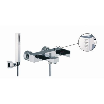 Brick Chic Wall Mount Thermostatic Tub Shower Faucet with Hand Shower Finish: Brushed - Wall Mounted Brick Tub