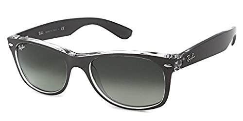 Ray-Ban New Wayfarer RB 2132 Sunglasses Top Brushed Gunmetal / Grey Gradient Dark Grey 55mm & HDO Cleaning Carekit - Ban Sunglasses Ray Gun Top