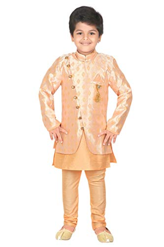 ahhaaaa Kids Ethnic wear Waistcoat, Indo Western Sherwani and Pyjama Set for Boys_427