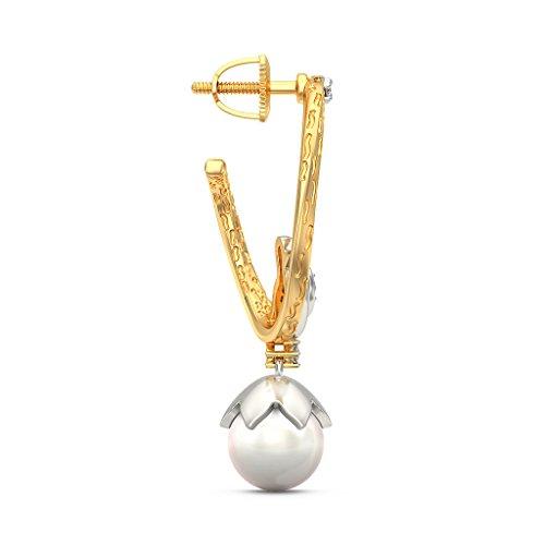 14K Or jaune 0.11CT TW White-diamond (IJ | SI) et blanc perle Boucles d'oreilles créoles
