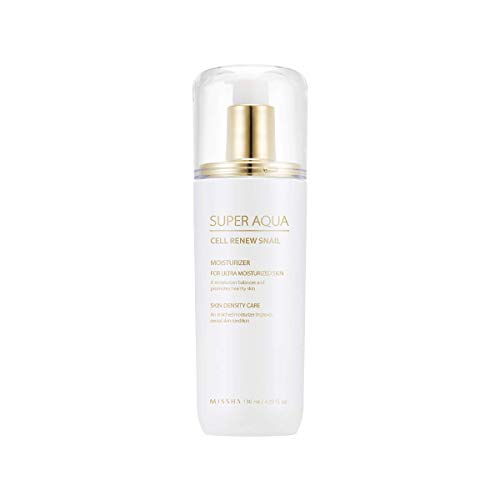 MISSHA Super Aqua Snail Essential Moisturizer 130ml-Snail slime extract and Botanical stem cell extract to prevent and recover skin damage and strengthen skin barrier to minimize skin irritation