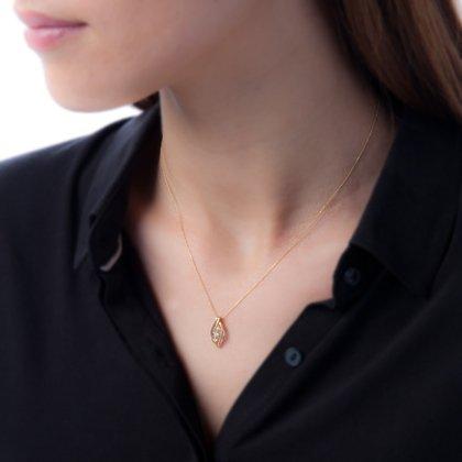 HISTOIRE D'OR - Collier Trilogie Or et Diamants - Femme - Or 2 couleurs 375/1000 - Taille Unique