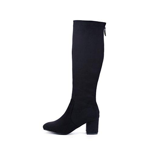 Back Zipper Boot - DFRNT Women's Black Olivia Back Gold-Tone Zipper Boots (7.5 US - 38 EU, Black)