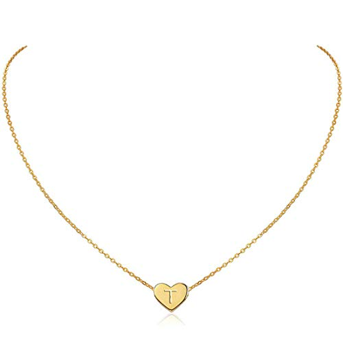 (MOMOL Initial Heart Necklace, 18K Gold Plated Stainless Steel Small Dainty Heart Pendant Necklace Personalized Name Necklace Tiny Letter T Charm Necklace for Girls (T))