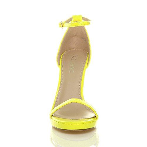 Neon Donna scarpe Gialloa numero tacco cinturino sandali fibbia alto con plateau spillo xwvAxrTqHR