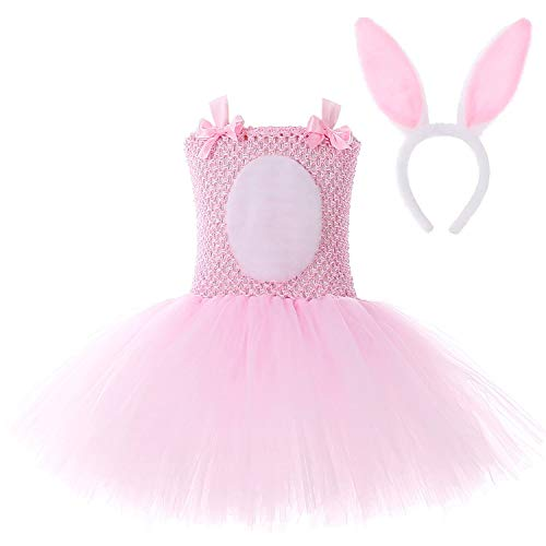 Girl Easter Day Costume Rabbit Dresses Princess Party Pageant Clothes & Headband -