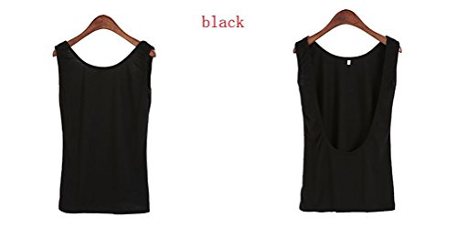 Mippo Women's Sexy Sleeveless Open Back Workout Tops Loose Soft Knit Stretchy Active Shirts Backless Yoga Running Gym Sports Shirt Black M by Mippo (Image #2)