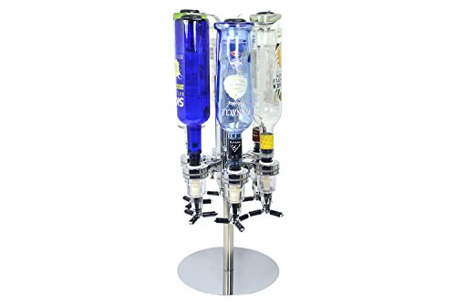 Revolving Alcohol Caddy - 6 Bottles - Liquor Holder Beverage Cocktail Shot Dispenser