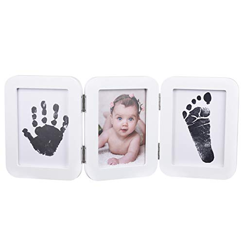 PartyKindom Baby Handprint Kit & Footprint Photo Frame with ASTM Certified Ink Pad and 6 Imprint Cards for Newborn, Baby Shower Registry
