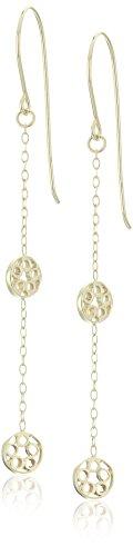 14k Yellow Gold Diamond Cut Multi-Open Circle Fish Hook Dangle (Gold Multi Circle Earrings)