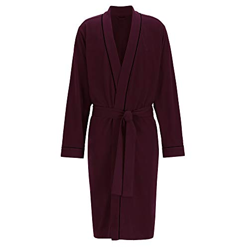 Size Robes Plus Cotton - HOLOVE Men's Cotton Robe Plus Size Bathrobe Lightweight Spa Soft Sleepwear (Wine, 2XL/3XL) ...