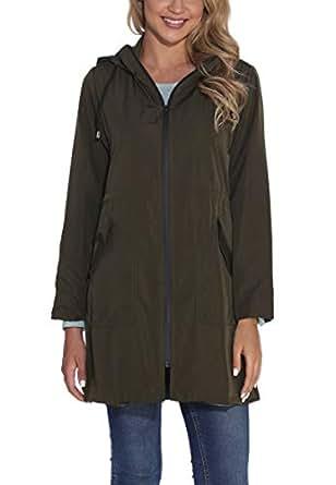 GUANYY Women's Waterproof Raincoat Outdoor Hooded Windbreaker Jacket Casual Long Lightweight Jackets Coat (Army Green, Small)