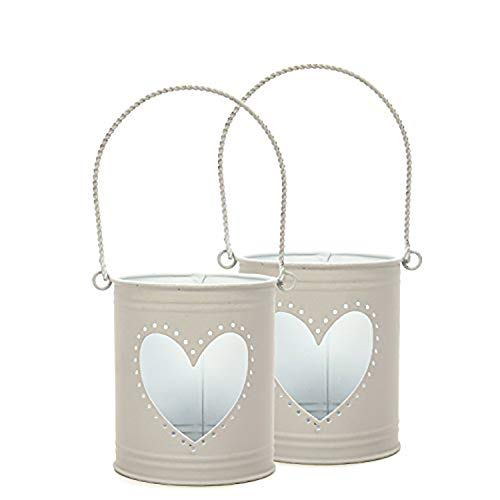 Hosley Set of 2 Lanterns, 4 inch High with Heart Cutout. Ideal Gift for Weddings, Party, DIY Craft and Floral Projects, Party Favors, Baby Showers with LED Tealight/Votive in Candle Gardens O3