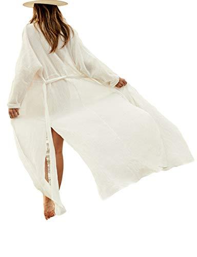 (Bsubseach White Long Sleeve Beach Cover Ups for Women Side Split Bikini Kimono Swimsuit Cover Up Swimwear with Belt)