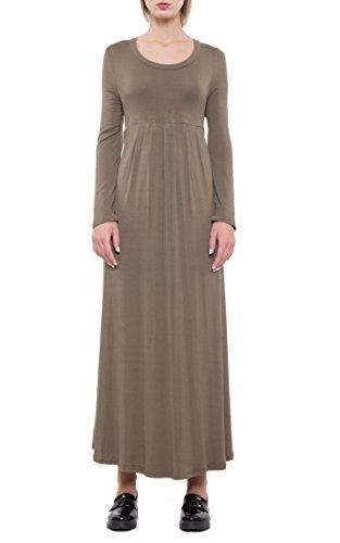 EEAMDRK Women's Long Sleeve Casual Loose T-Shirt Dress (M, Army (Womens Army Fancy Dress)