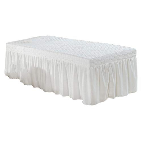Standard Massage Table Skirt Beauty Face Facial Bed Cover Linen Valance Sheet 73x28inch With 54 Drop Skirt – White