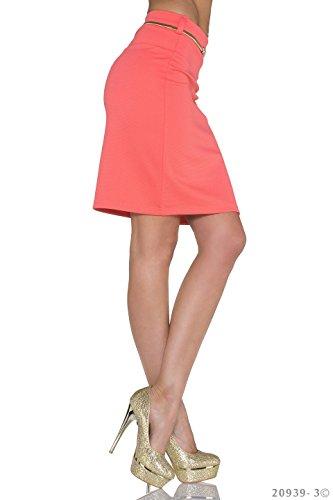 Moda Italy - Falda - trapecio - para mujer Coral