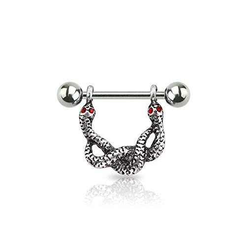 Covet Jewelry Double Headed Snake 316L Surgical Steel Nipple Shield (Silver) ()