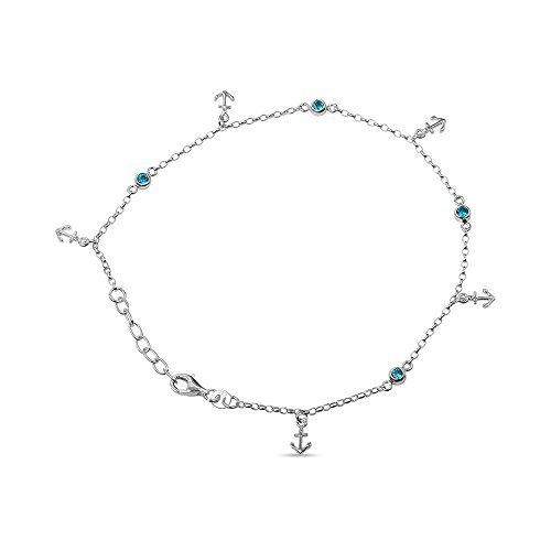 LeCalla Women's Sterling Silver Jewelry Anchor Charm Anklet with Beads by LeCalla