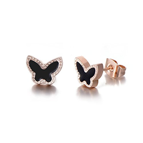 Rose Gold Plated Stainless Steel Mixed Color Cute Pineapple Mouse Love Parrot Ladybug Stud Earrings Set by HYZ (Image #5)