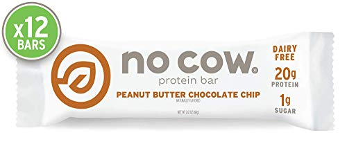 No Cow Protein bar, Peanut Butter Chocolate Chip, 20g Plant Based Protein, Keto Friendly, Low Sugar, Dairy Free, Gluten Free, Vegan, High Fiber, Non-GMO, - Free Gluten Butter Vegan