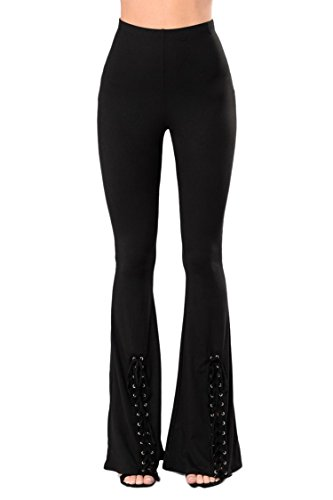 LaSuiveur Women's High Waist Wide Leg Long Palazzo Bell Bottom Yoga Pants, Black, X-Large