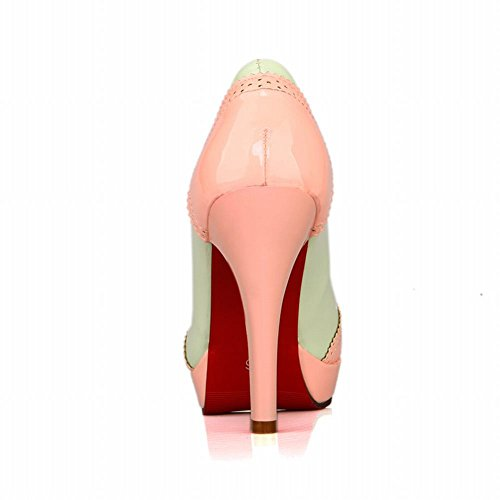 MissSaSa Damen high heel mehrfarbig Plateau Schleife Pumps Pink