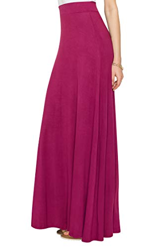 WDR1434 Womens Solid Maxi Skirt with Elastic Waist Band S WINE