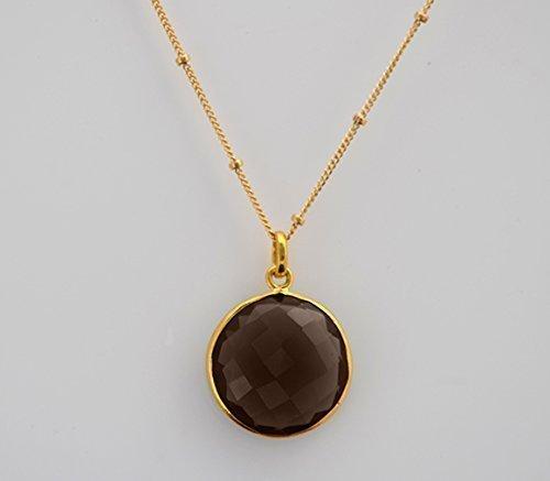 Round Smoky Quartz Pendant Necklace, Neutral Gemstone Necklace, Everyday necklace, Earthtone Necklace, 18mm Round Pendant Necklace ()