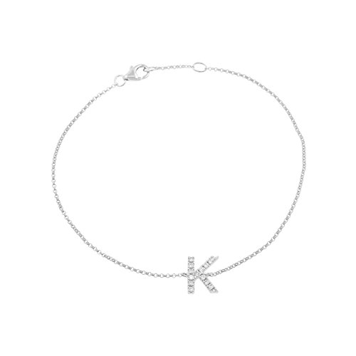 14k White Gold Diamond Studded Letter ''K'' Initial Bracelet, 7.5'' by Isha Luxe-Initials
