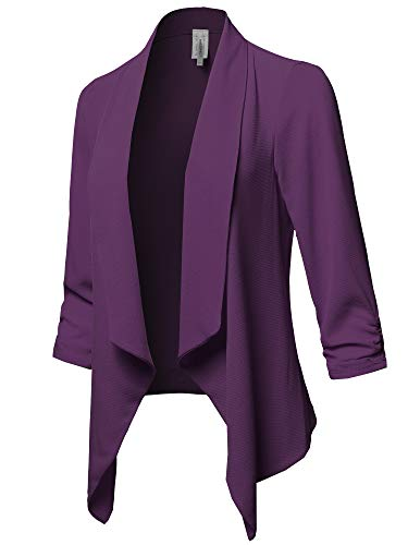 Awesome21 Solid Lightweight 3/4 Ruched Sleeves Thin Cardigan Blazer Plum S