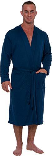 - Ross Michaels Men's Lightweight Robe - Luxury Knit Sleep Jersey Bathrobe w/Tie Waist (Navy, XXXL)
