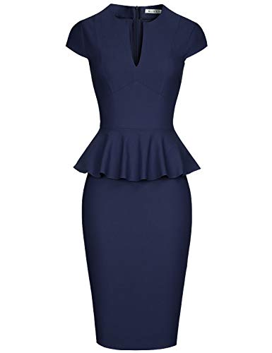 MUXXN Ladies Elegant Short Sleeve A Line Waist Semi Formal Work Dress (Blue L)
