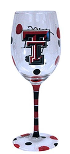 Texas Wine (Texas Tech Red Raiders Red and Black Hand Painted Wine Glass)