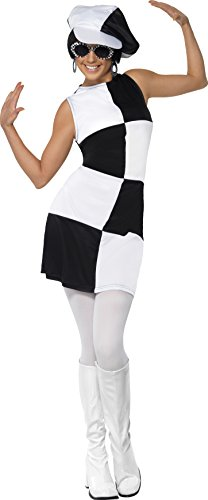 Smiffy's Women's 1960's Party Girl Costume, Dress and Hat, 60's Groovy Baby, Serious Fun, Size 10-12, (1960 Fancy Dress Costumes)