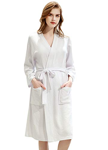 Womens Robe Lightweight Waffle Kimono Cotton Spa Soft Knee Length Bathrobe Loungewear Sleepwear Short Nightgown with Pockets for Ladies White ()