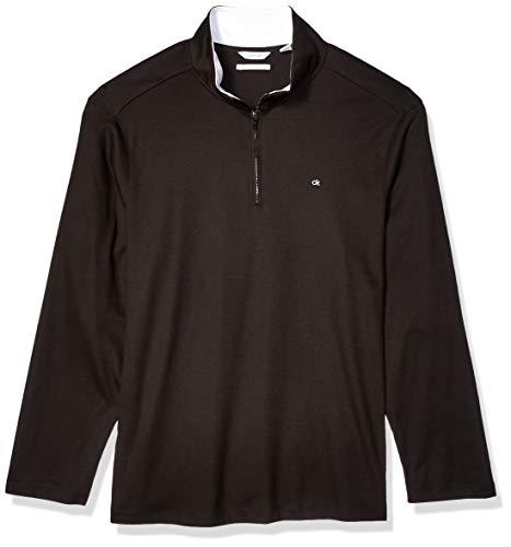 Calvin Klein Men's Classic Quarter Zip Sweater, Black, X-Large