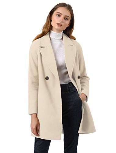 Allegra K Women's Notched Lapel Double Breasted Raglan Winter Coats Cream White S (US 6)