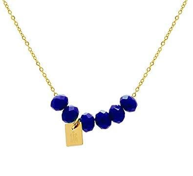c524fe47fa1d Zag Bijoux - Collar dorado con cuentas de color azul eléctrico  Amazon.es   Joyería