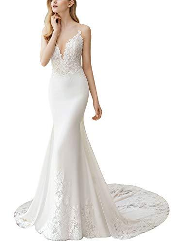 Fenghuavip Spaghetti Straps Wedding Dress Lace Appliques Long Train Beach Bride Gowns White
