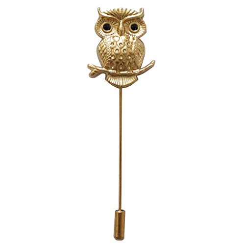 Sunny Home Men's Owl Golden Flower Lapel Stick Brooch Pin for Suit