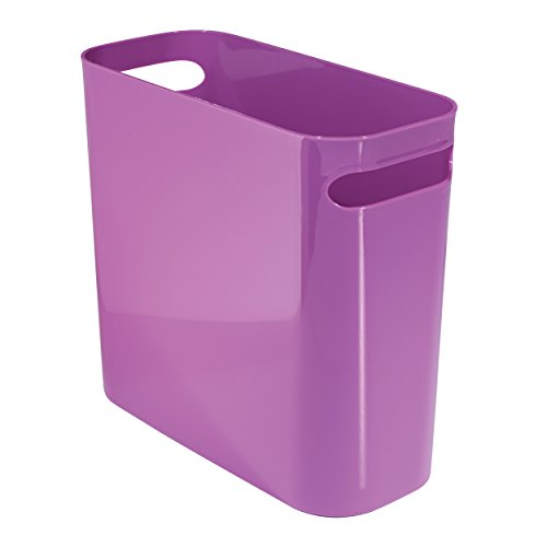 Mdesign plastic wastebasket trash can 10 light gray for Light purple bathroom accessories