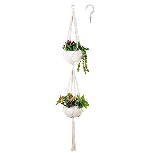Soonow 2 Tier Macrame Plant Hanger, Double Hanging Planter for Indoor Plants with Hook Home Decor - Cotton Rope, 59 Inches ()