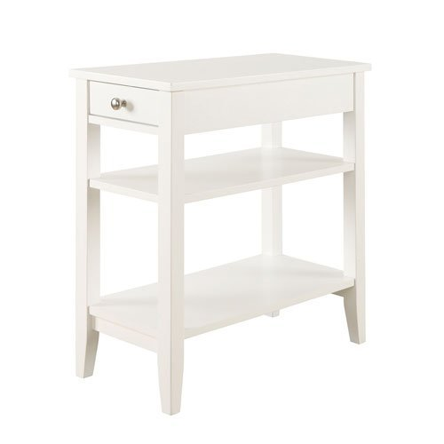 Convenience Concepts American Heritage Collection 3-Tier End Table with Drawer, White -