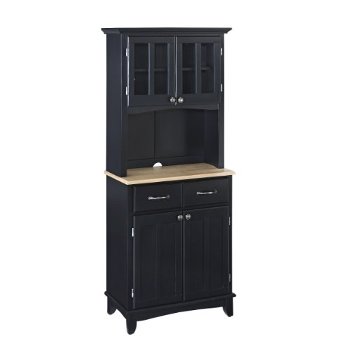 (Buffet of Buffets Black with Wood Top with Hutch by Home Styles)