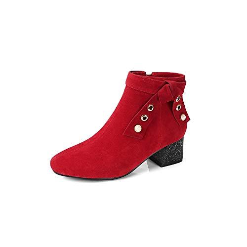 ZHZNVX Damen Stiefelie Suede Herbst & & & Winter Vintage Stiefel Chunky Heel Runde Zehe Stiefelies Stiefeletten Bowknot Rivet Schwarz Rot   Mandel bca808