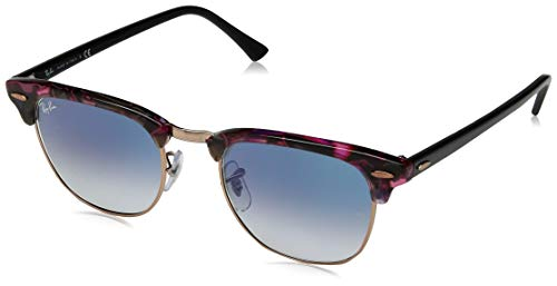 - Ray-Ban RB3016 Clubmaster Square Sunglasses, Spotted Grey & Violet/Blue Gradient, 49 mm