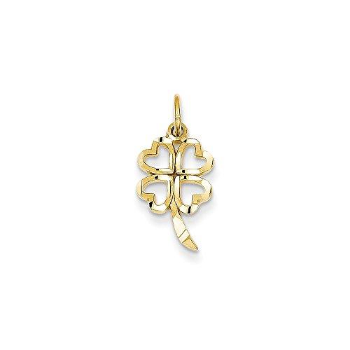 Gold 4 Leaf Clover Charm (14K Gold 4 Leaf Clover Charm Pendant (0.79 in x 0.39 in))