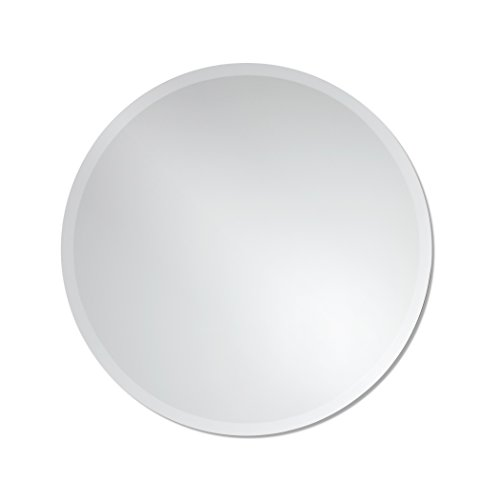 Elegant Bathroom Mirror (Round Frameless Wall Mirror | Bathroom, Vanity, Bedroom Mirror | 24-inch Diameter Circle | Beveled Edge)