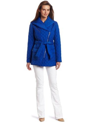 Jones New York Women's Assymetrical Quilted Zip Front Coat